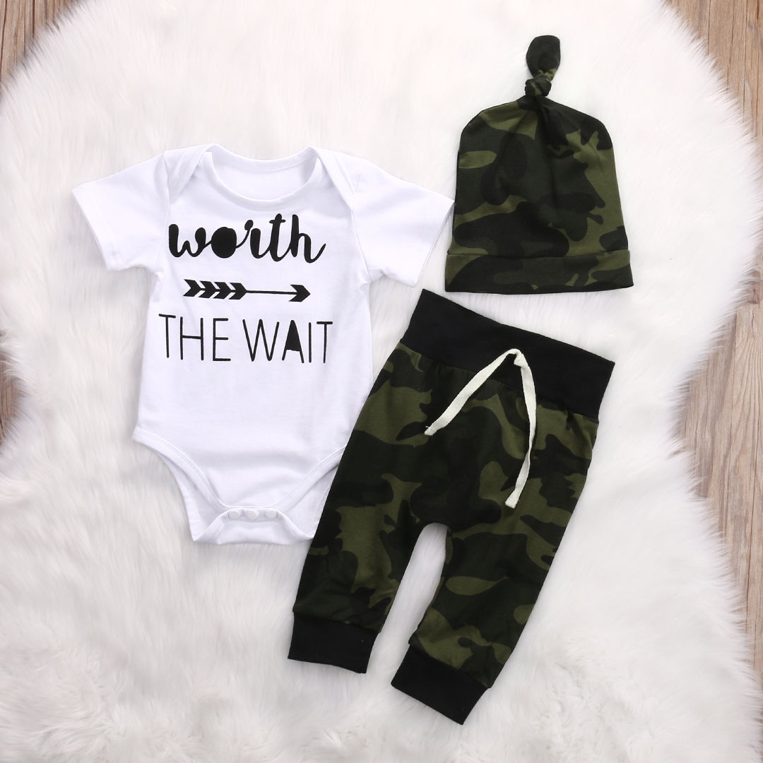 2017 Army Green Newborn Baby Girl Boy Clothes Romper T Shirt Long