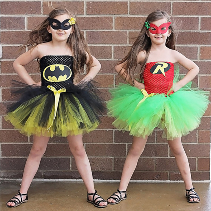 2017 girls superhero costume wonder woman dress batman dress children summer tutu dress tulle skirt halloween costumes for kids