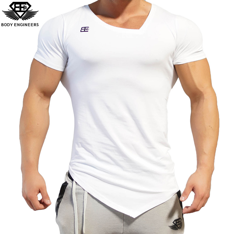 6932af33c692 Body engineers 2017 fashion men summer quick drying V-neck short sleeve  men s gyms stretch bodybuilding fitness casual T-shirt