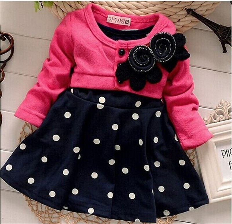 BibiCola 100% Cotton Baby girl christmas dresses clothes Kids Children\u0027s  Lovely princess Two Tones Splicing Polka Dots Dress